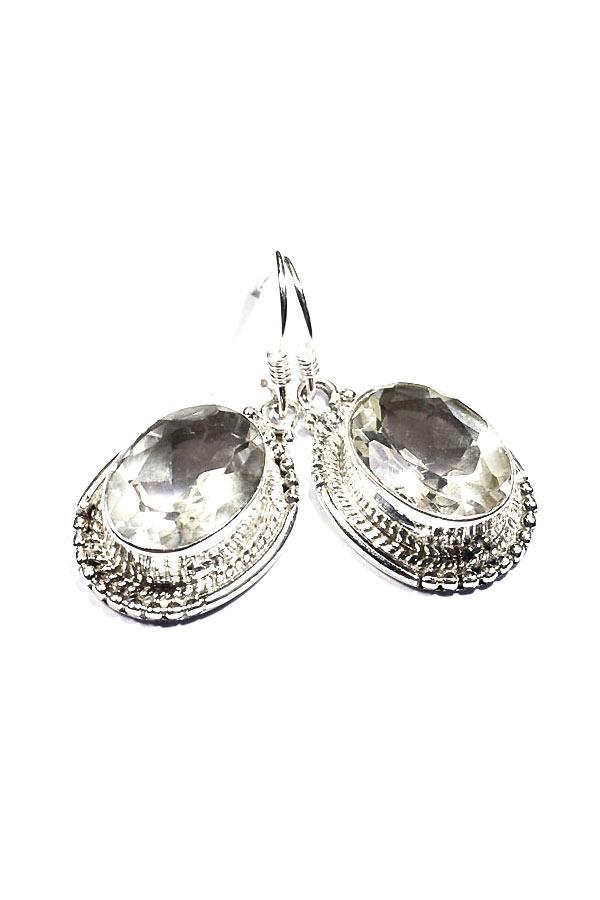 Bergkristal facet geslepen zilveren oorbellen 925 sterling