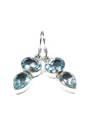 Aquamarijn druppel oorbellen 925 sterling zilver