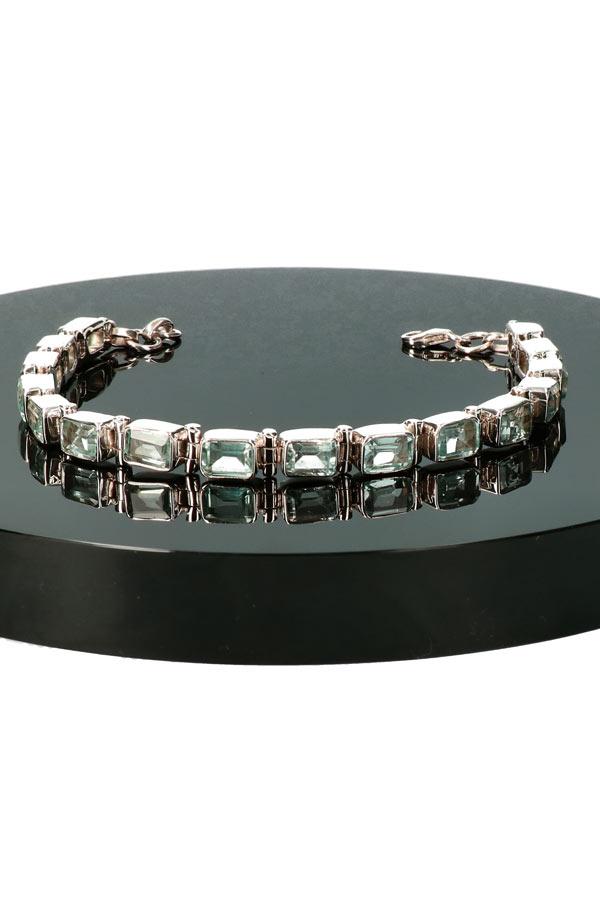 Aquamarijn zilveren armband, 925 sterling, 18-20 cm