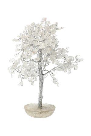 Bergkristal edelsteenboom op Orgoniet met Bergkristal basis