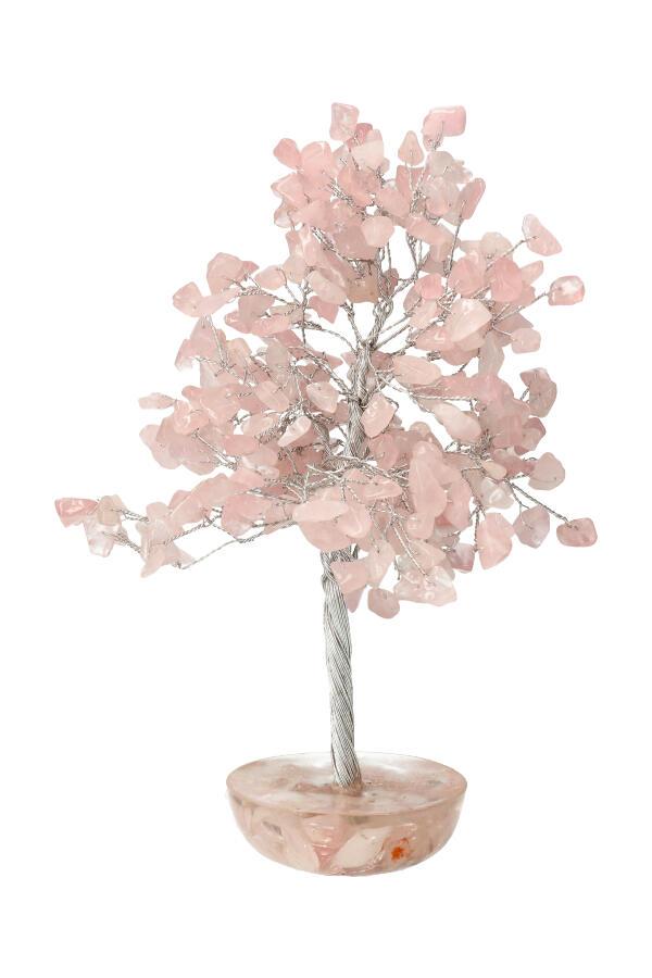 Rozenkwarts edelsteenboom op Orgoniet met Rozenkwarts basis