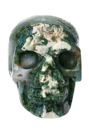Mosagaat kristallen schedel met mooie geode