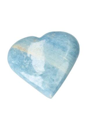 Blauwe Calciet hart edelsteen gepolijst
