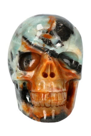Amazoniet met Gele Jaspis en Zwarte Toermalijn realistische kristallen schedel