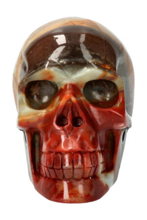 Amazoniet met Zwarte Toermalijn en Rode Jaspis kristallen schedel