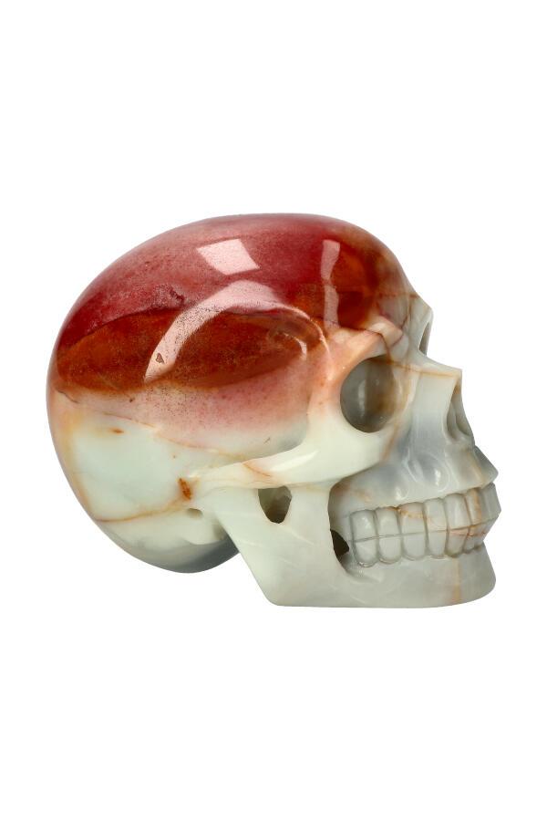 Amazoniet met Rode Jaspis realistische kristallen schedel