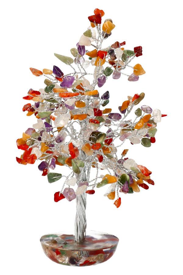 Kleurige multi steen edelsteenboom, 20 cm