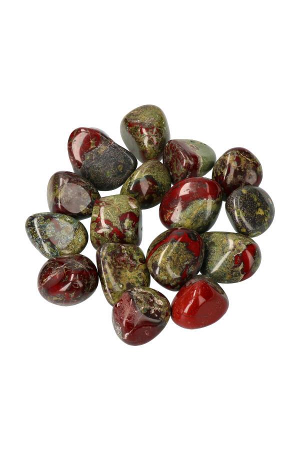 Drakenbloedsteen, vanaf 1steen tot zakken van 100 gram tot 1 kilo, circa 2 a 3 cm per steen, Zuid Afrika