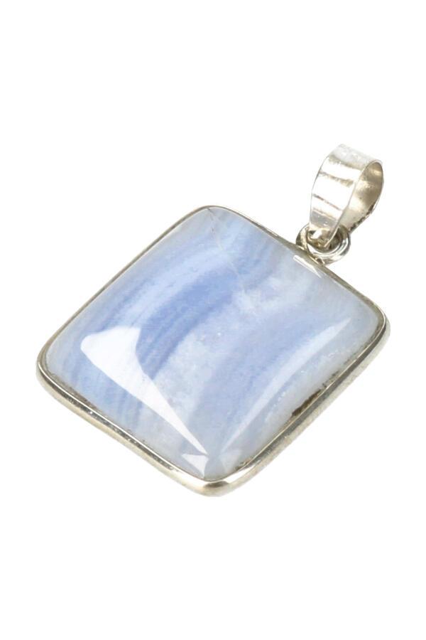 Chalcedoon zilveren hanger rechthoek