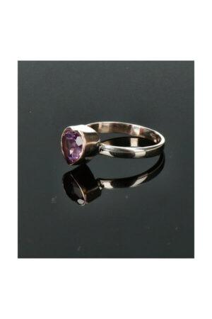Amethist hart zilveren ring 925 sterling zilver