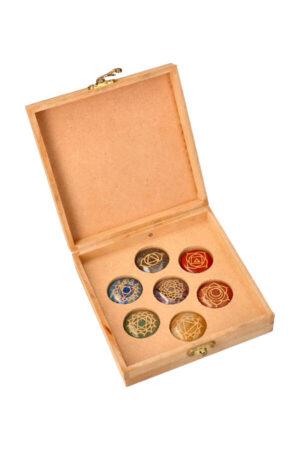 Chakra schijven set in bewaar doos Schijven van 3.5 cm