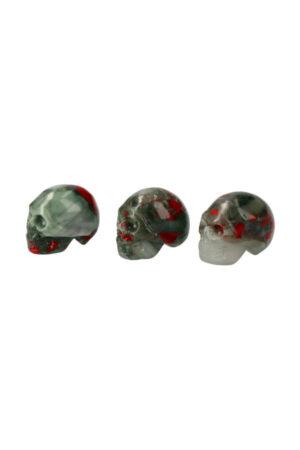 Grijze Bloedsteen kristallen schedel 3.5 cm