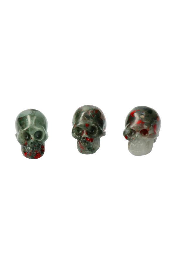 Grijze Bloedsteen kristallen schedel, 4 cm