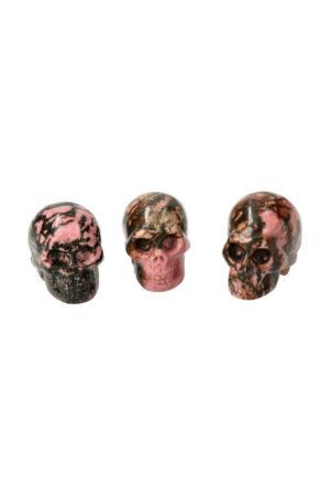 Rhodoniet kristallen schedel 3.5 cm crystal skull