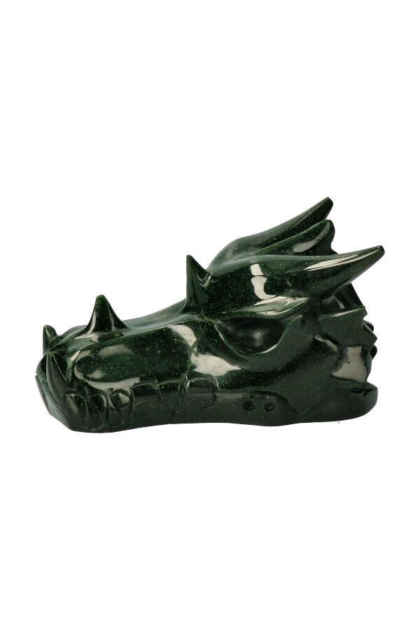 Groene Goudsteen kristallen drakenschedel