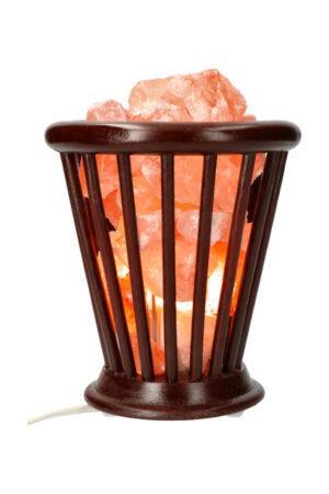 Zoutsteen korflamp (houten mand) conisch 20 cm 3.5 a 4 kg