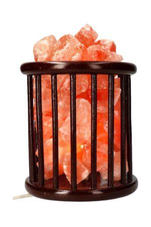 Zoutsteen korflamp (houten mand), ovaal recht 20 cm 3.5 a 4 kg