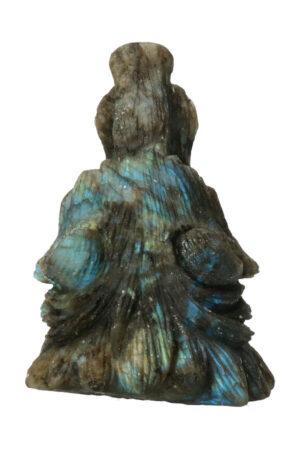 Labradoriet edelsteen wolf hoofd carving