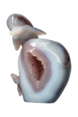 Agaat met Lavendel Amethist en kleine stukjes Kersenbloesem Agaat Geode Dolfijn