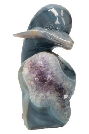 Amethist met Agaat met Golden Healer en stukjes Dendriet Geode Dolfijn