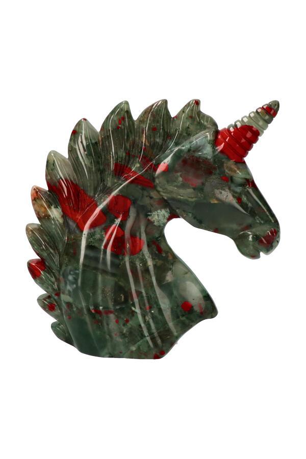 Webstuk, Bloedsteen  eenhoorn, 13.5 cm, 519 gram
