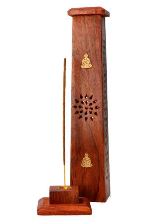 Wierook toren antiek hout Boeddha 30 cm