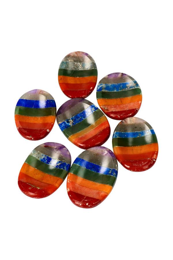 Chakra duimsteen, 3.5 a 4 cm, zeven chakra kleuren