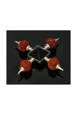 Rudhraksha met Toermalijn generator en Bergkristal Piramide