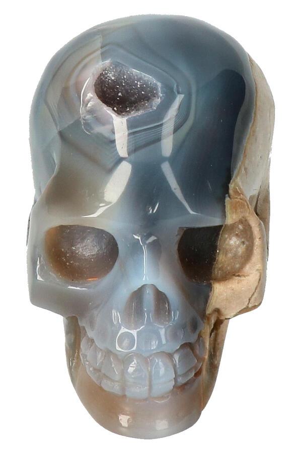 Agaat geode met Dendriet en Carneool en Bergkristal kristallen schedel , 8.5 cm, 407 gram