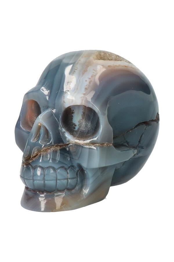 Agaat geode met Bergkristal kristallen schedel, 9 cm, 524 gram