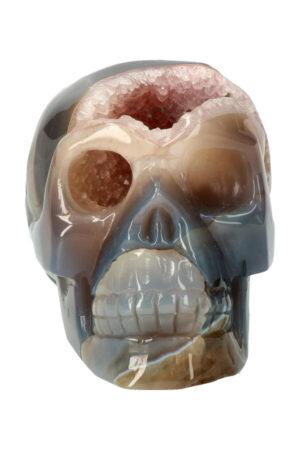 Agaat geode met lichte Amethist en stukjes Chloriet en Dendriet kristallen schedel