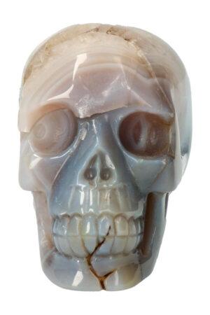 Agaat geode met Amethist en Golden Healer kristallen schedel, 9.5 cm, 454 gram