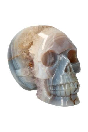 Agaat geode met Amethist en Golden Healer kristallen schedel