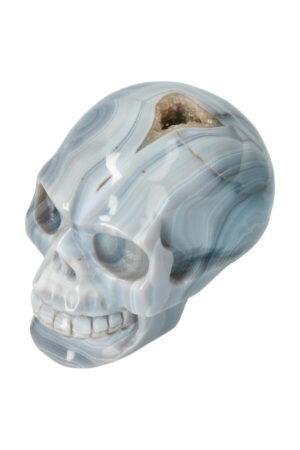 Chalcedoon geode met Bergkristal kristallen schedel