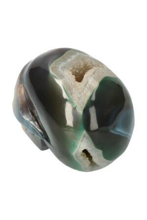 Agaat geode met Chloriet en Bergkristal kristallen schedel