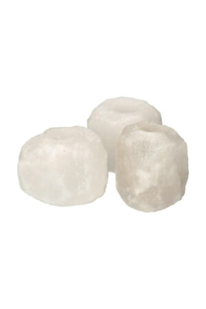 Himalaya Witte Zoutsteen Theelichthouder, XL circa 1 tot 1.5 kg per stuk
