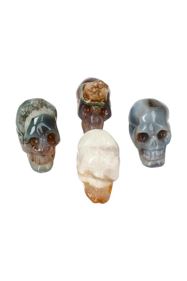Agaat geode kristallen schedel, 5-6 cm