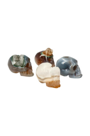 Agaat geode kristallen schedel 4-5 cm
