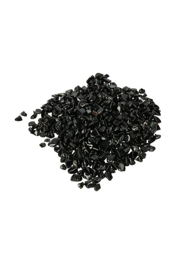 Obsidiaan chips (kleine steentjes), zak van 100 gram tot 1 kilo, 0.6 tot 1.5 cm
