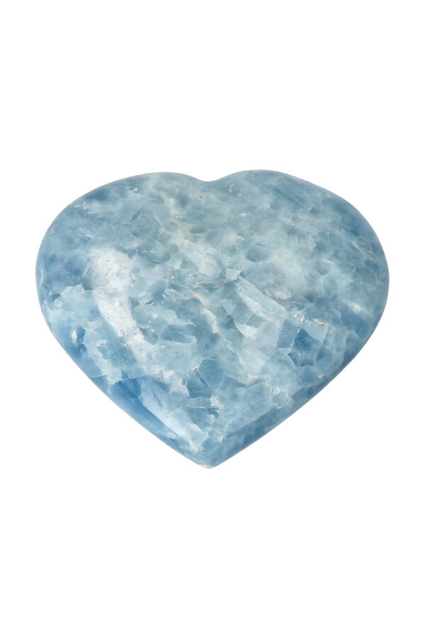 Blauwe Calciet hart, 12.5 cm, 752 gram, Madagaskar
