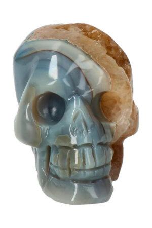 Agaat geode met Citrien kristallen schedel