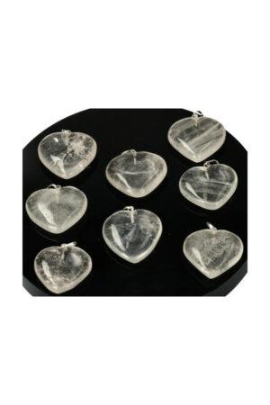 Bergkristal hart hanger 2.5 a 3 cm