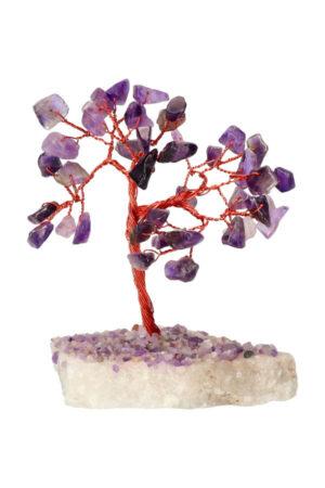 Amethist edelsteenboom op Bergkristal voet