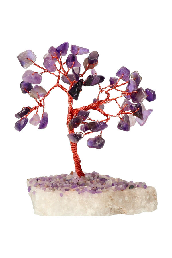 Amethist edelsteenboom op Bergkristal voet, 10-12 cm