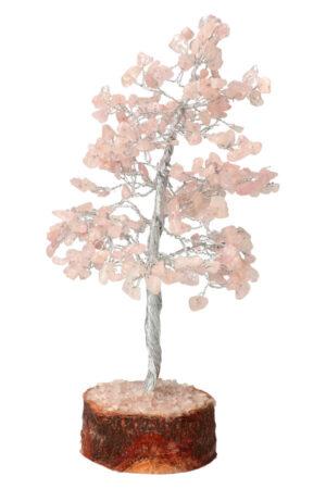 Rozenkwarts edelsteenboom op houtschijf 20 - 25 cm