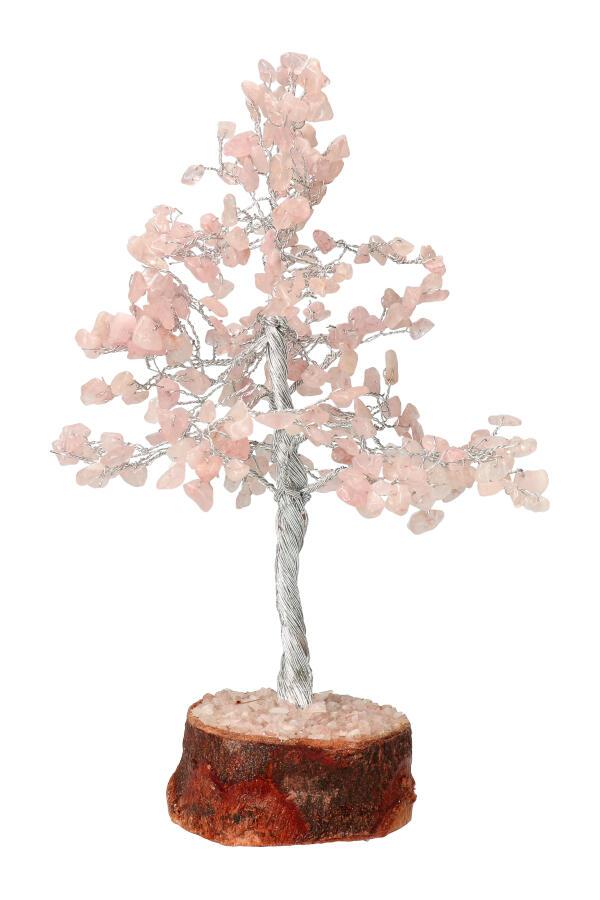 Rozenkwarts edelsteenboom op houtschijf, 20 - 25 cm