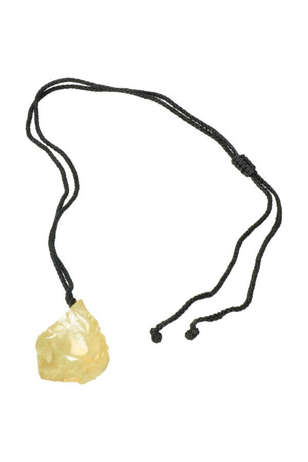 Citrien ruwe hanger aan ketting, circa 2-3 cm
