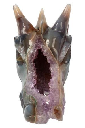Amethist, Chloriet en Agaat geode drakenschedel, 11.5 cm, 333 gram
