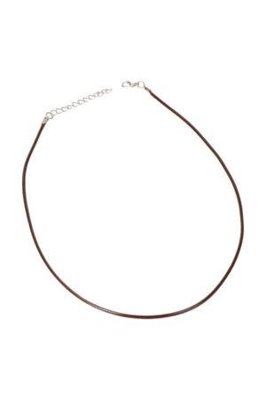 Ketting waskoord met sluiting bruin, verstelbaar 45-50 cm