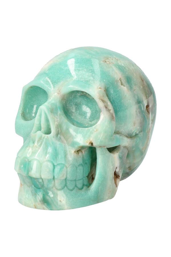 Amazoniet realistische kristallen schedel, 14 cm, 1.7 kg